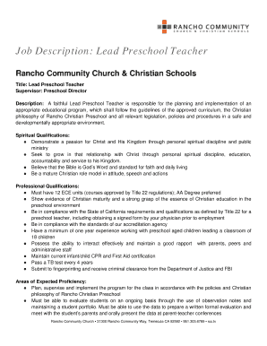 Job Description Lead Preschool Teacher Rancho Christian
