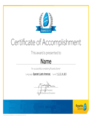 Fillable Online Certificate of Accomplishment - Rosetta