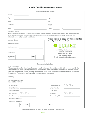 Credit Reference Form Fill Online Printable Fillable