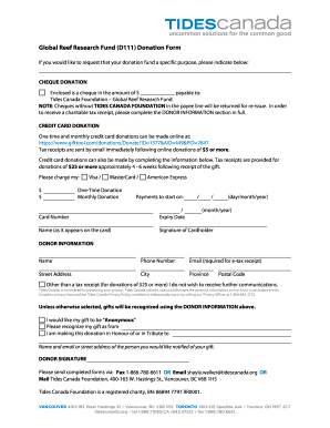 Tides Canada Customized Cgf Donation Form Template - New