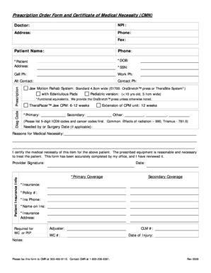 Fillable Online Prescription Order Form and Certificate of ...