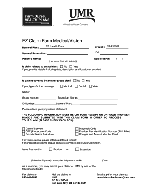 Fillable Online EZ Claim Form 3 2 - Farm Bureau Health Plans Fax ...