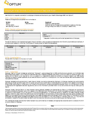 optum bank employer hsa contribution correction request form
