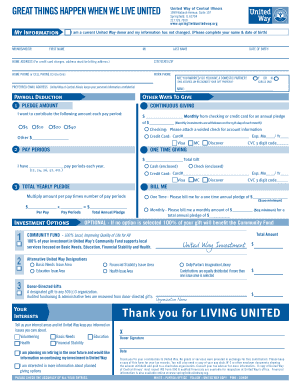1 united way investment fill online printable fillable for Credit union succession plan template
