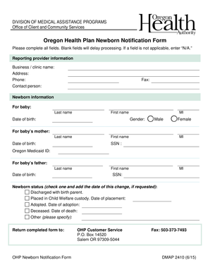 Oregon Health Plan Newborn Notification Form - EOCCO