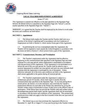 Fillable teacher employment agreement edit online print local teacher employment agreement platinumwayz
