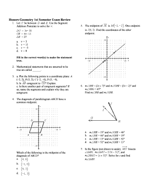 Fillable Online Honors Geometry 1st Semester Exam Review Fax
