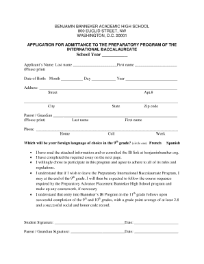 APPLICATION FOR ADMITTANCE TO THE PREPARATORY PROGRAM OF - benjaminbanneker k12 dc