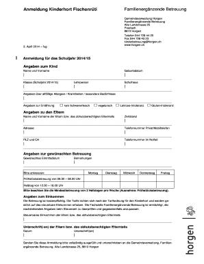 Anmeldung Form