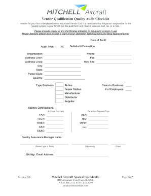 Aircraft Vendor Audit Checklist Template - Fill Online