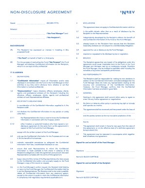 non disclosure agreement format Templates - Fillable & Printable ...