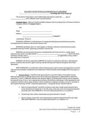 Talent Option And Confidentiality Agreement American Bar