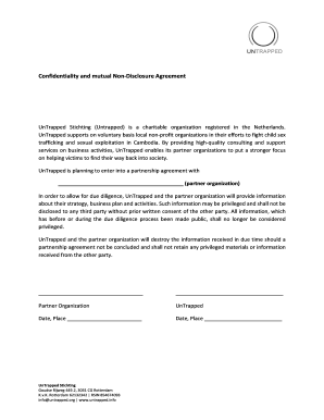 Confidentiality and mutual Non-Disclosure Agreement