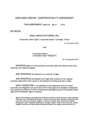 Fillable Online Nondisclosure Confidentiality Agreement This