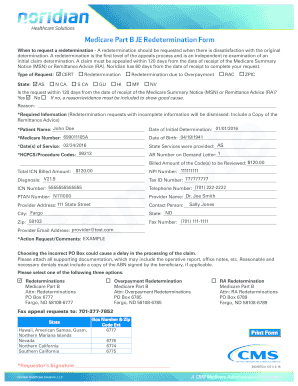 Part B Redetermination Sample Form - Noridian Medicare