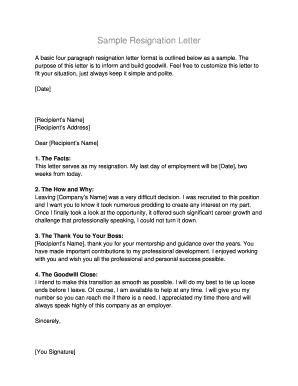 Resignation Letter Due To Hostile Work Environment from www.pdffiller.com