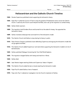 Heliocentrism and the Catholic Church Timeline