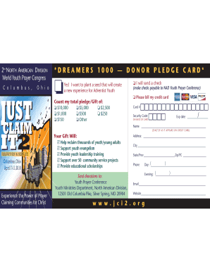 donor pledge card