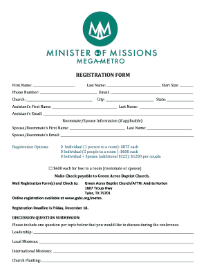 Baptist church letterhead forms and templates fillable printable mega metro registration green acres baptist church gabc spiritdancerdesigns Choice Image