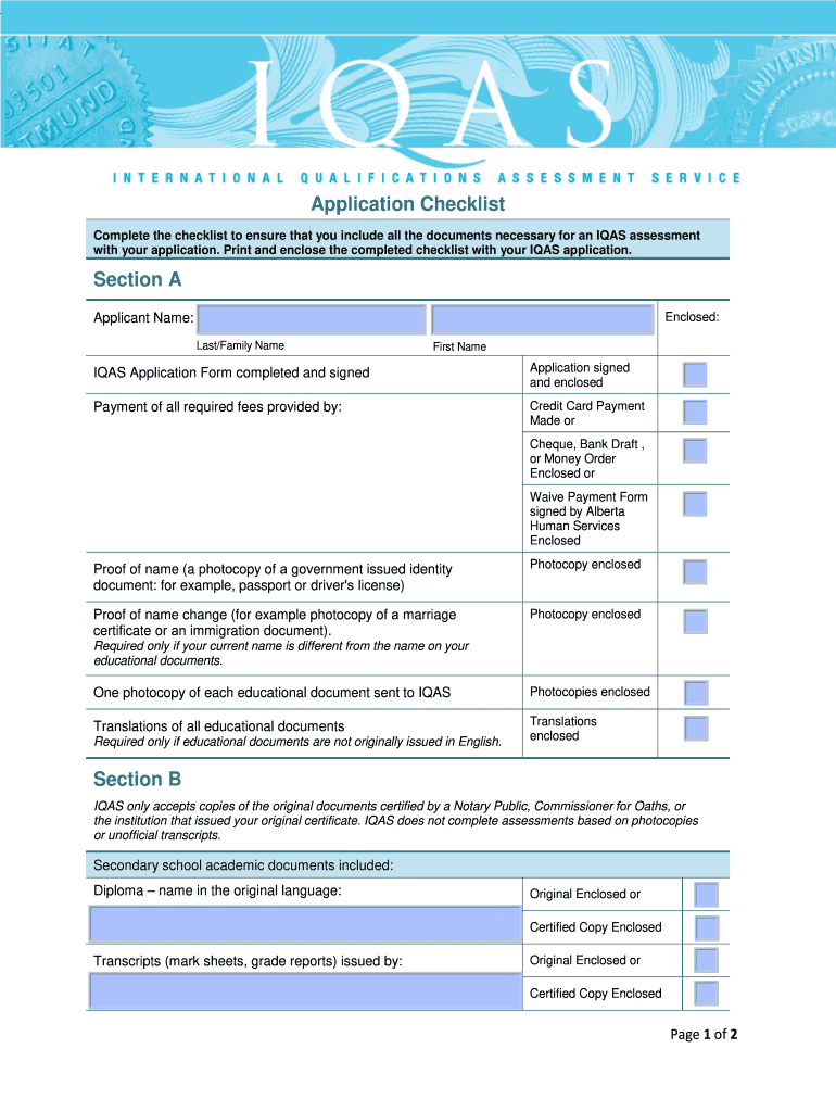 Sample Filled Iqas Checklist - Fill Online, Printable
