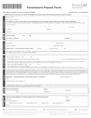 Fillable Online exidelife Foreclosure Payout Form noa ...