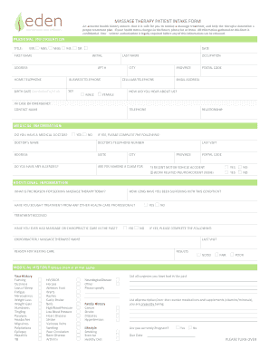 Massage Therapy Treatment Plan Forms Edit Online Fill Out