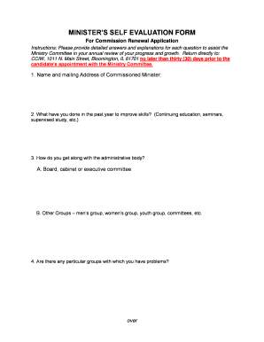 MINISTERS SELF EVALUATION FORM - cciwdisciplesorg