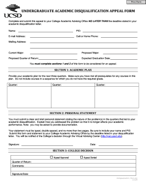 Undergraduate academic disqualification appeal form - John Muir - muir ucsd