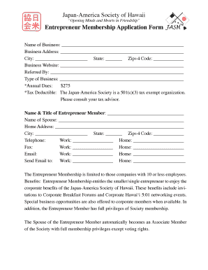 fillable online jashawaii entrepreneur membership application form