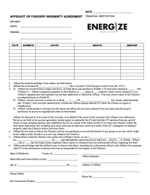 AFFIDAVIT OF FORGERY INDEMNITY AGREEMENT FINANCIAL - energize