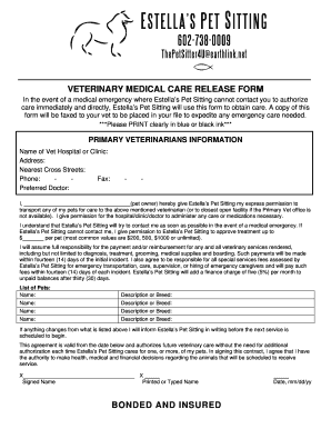 Veterinary Medical Care Release Form doc Fill Online