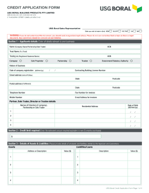 fillable online credit application form usgboralcom fax email
