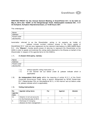 Fillable Online GrandVision Nv - Proxy Form Agm May 2015pdf