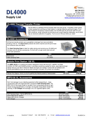 DuraLabel 4000 Price List - Graphic Products
