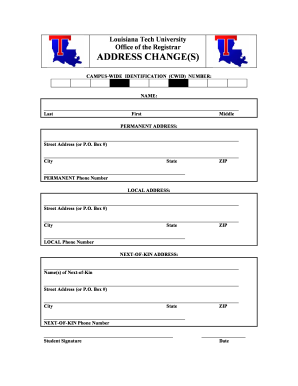 Fillable Online Ans Latech Louisiana Tech University Office Of The Registrar Address Ans Latech Fax Email Print Pdffiller