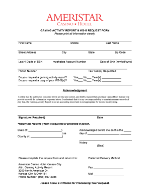 w2 form kansas  Fillable Online Gaming Activity Report W11-G Request Form ...