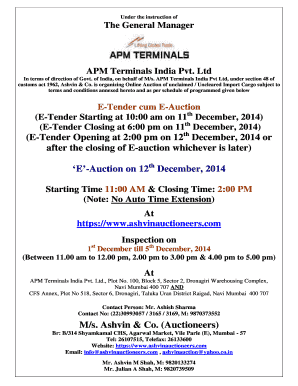 The General Manager APM Terminals India Pvt Ltd