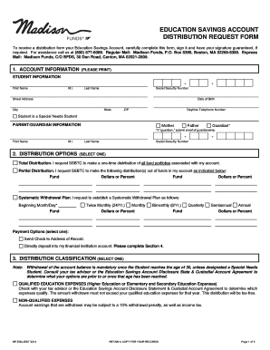 EDUCATION SAVINGS ACCOUNT DISTRIBUTION REQUEST FORM