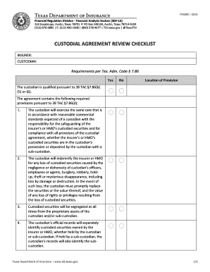 custodial checklist template