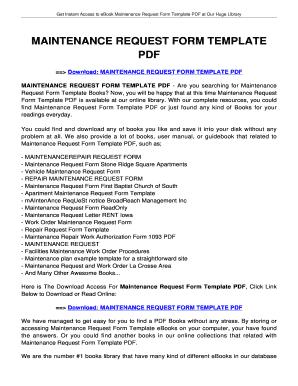 Printable free maintenance request form template - Edit