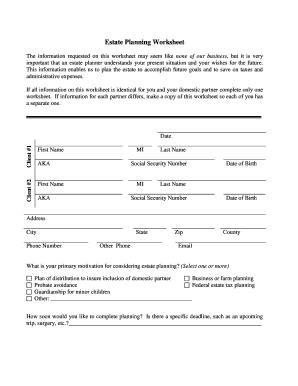 Estate planning worksheet pdf