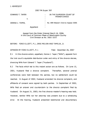 Printable mutual consent divorce in pa fill out download forms donna j taperappellant in the superior court of pennsylvania no 699 western district appeal 2006 appeal from the order entered march solutioingenieria Image collections