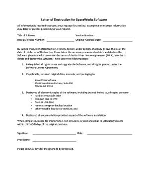 Fillable Online Letter of Destruction for SpaceWorks Software Fax