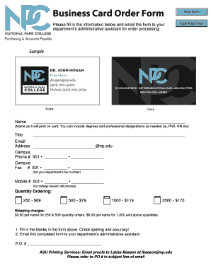 business card order form npedu fill online printable