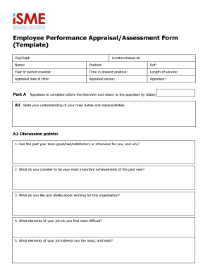 Employee Performance AppraisalAssessment Form Template   Isme  Performance Review Template Word