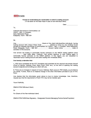 Editable format of undertaking letter fill print download undertaking for reactivation of clients commodity trading account nmce altavistaventures Choice Image