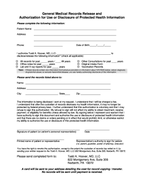 General Medical Records Release Form 0613pdf