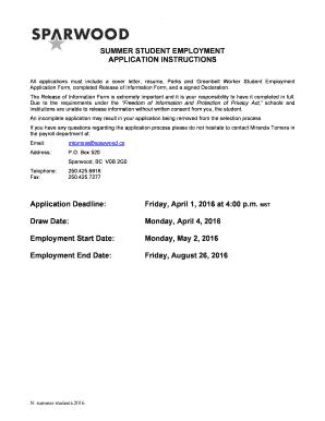 employment information sheet