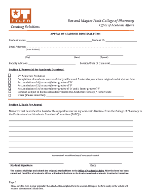 Fillable sample appeal letter for college dismissal edit online ben and maytee fisch college of pharmacy spiritdancerdesigns Choice Image