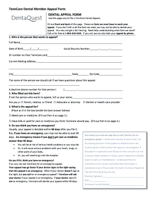 Fillable Online TennCare DQ Member Appeal Form 2013 ...